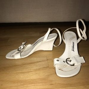 Shoes - White strapping wedges